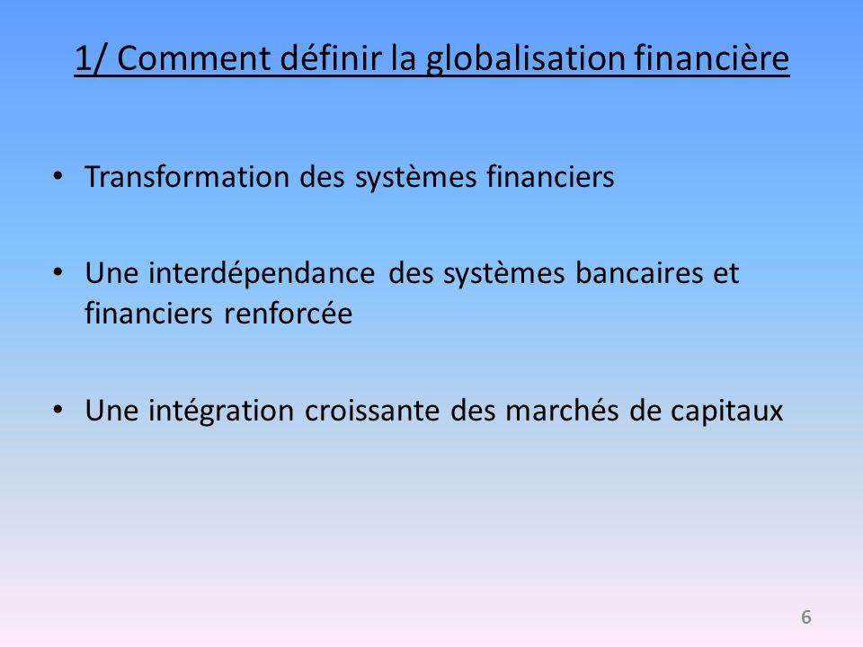 1/ Comment définir la globalisation financière Transformation des systèmes financiers Une interdépendance des systèmes bancaires et financiers renforc