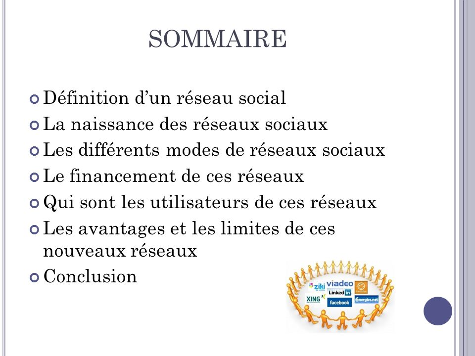 SOMMAIRE Définition dun réseau social La naissance des réseaux sociaux Les différents modes de réseaux sociaux Le financement de ces réseaux Qui sont