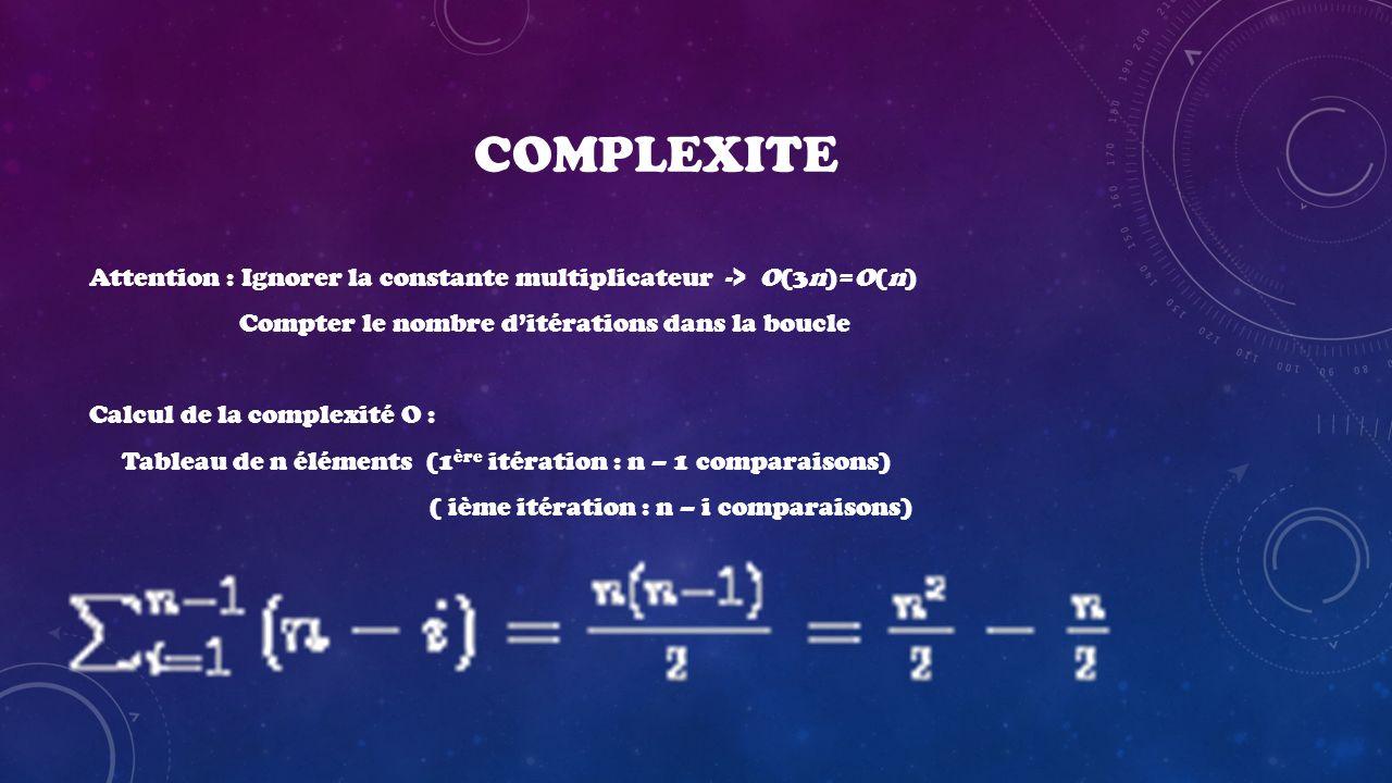 COMPLEXITE Attention : Ignorer la constante multiplicateur -> O(3n)=O(n) Compter le nombre ditérations dans la boucle Calcul de la complexité O : Tabl