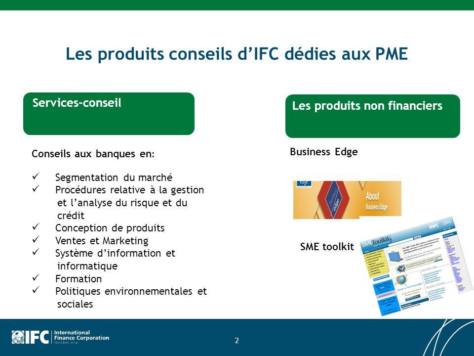2 Les produits conseils dIFC dédies aux PME Services dinvestissement Services-conseil Les produits non financiers Conseils aux banques en : Segmentati