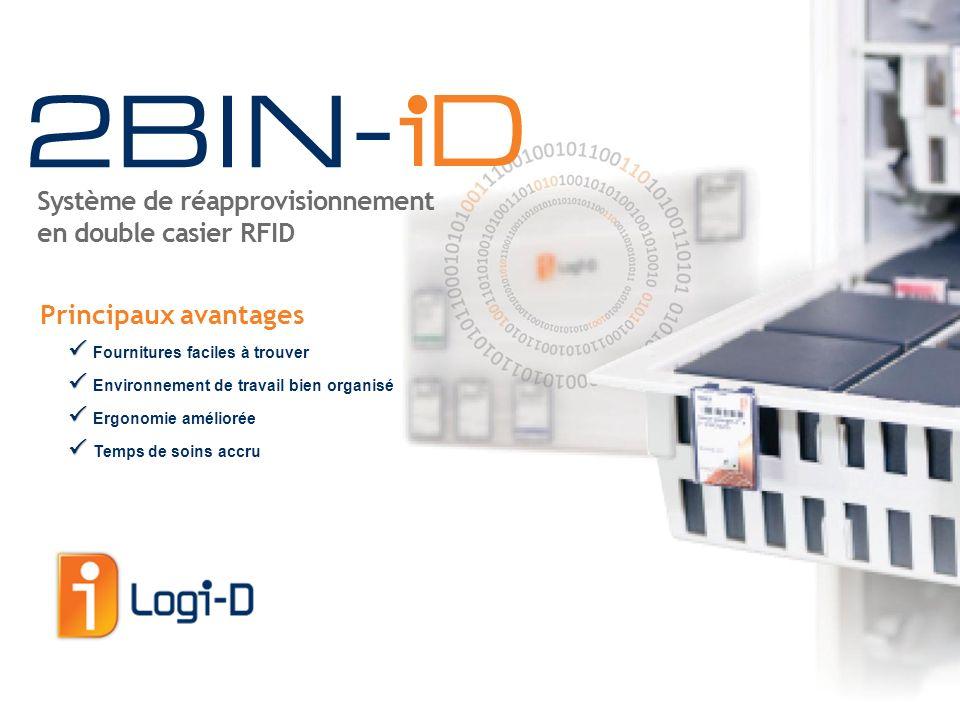 1 -- S OLUTION DE RÉAPPROVISIONNEMENT EN DOUBLE CASIER RFID © Logi-D, 2012 Le système 2BIN-iD a été conçu pour gérer les fournitures dun hôpital, de la salle dopération aux unités de soins généraux et spécialisés.