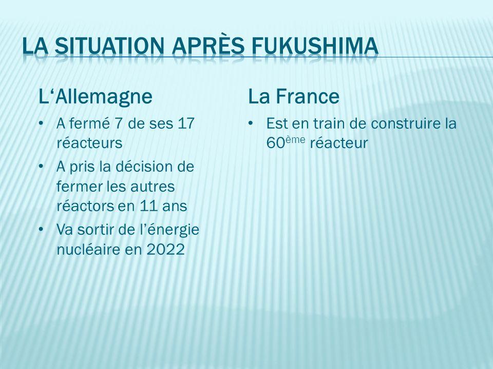 La France Est en train de construire la 60 ème réacteur LAllemagne A fermé 7 de ses 17 réacteurs A pris la décision de fermer les autres réactors en 11 ans Va sortir de lénergie nucléaire en 2022