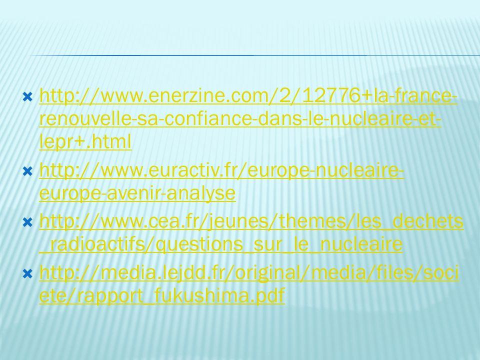 http://www.enerzine.com/2/12776+la-france- renouvelle-sa-confiance-dans-le-nucleaire-et- lepr+.html http://www.enerzine.com/2/12776+la-france- renouvelle-sa-confiance-dans-le-nucleaire-et- lepr+.html http://www.euractiv.fr/europe-nucleaire- europe-avenir-analyse http://www.euractiv.fr/europe-nucleaire- europe-avenir-analyse http://www.cea.fr/jeunes/themes/les_dechets _radioactifs/questions_sur_le_nucleaire http://www.cea.fr/jeunes/themes/les_dechets _radioactifs/questions_sur_le_nucleaire http://media.lejdd.fr/original/media/files/soci ete/rapport_fukushima.pdf http://media.lejdd.fr/original/media/files/soci ete/rapport_fukushima.pdf