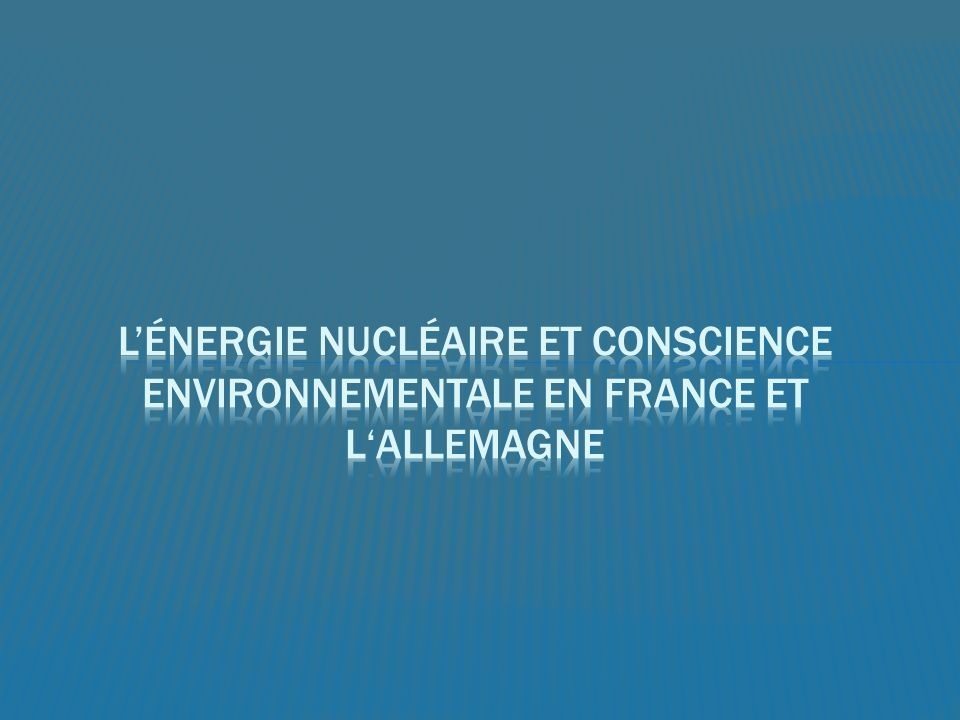 La conscience environnementale est beaucoup plus forte en Allemagne quen France Les mouvements anti-nucléaires En France, lénergie nucléaire nest pas quune type dénergie renouvelable LEconomie La Souveraineté Beaucoup moins de débats en France sur ce sujet Néanmoins, selon un sondage de juin, 77% des Français souhaitent une sortie du nucléaire en 30 ans