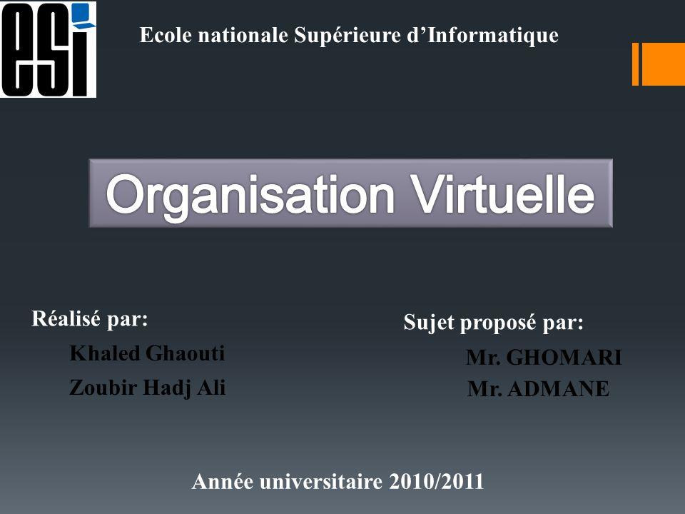 Ecole nationale Supérieure dInformatique Réalisé par: Khaled Ghaouti Zoubir Hadj Ali Sujet proposé par: Mr. GHOMARI Mr. ADMANE Année universitaire 201