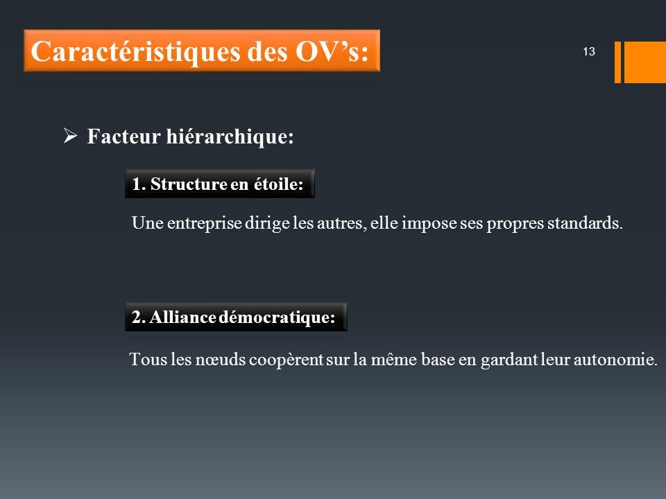 13 Facteur hiérarchique: Une entreprise dirige les autres, elle impose ses propres standards. Tous les nœuds coopèrent sur la même base en gardant leu