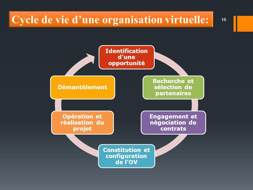 16 Identification d une opportunité Recherche et sélection de partenaires Engagement et négociation de contrats Constitution et configuration de l OV Opération et réalisation du projet Démantèlement