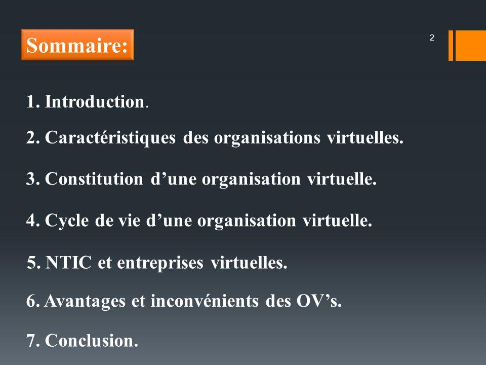 1. Introduction. 2. Caractéristiques des organisations virtuelles. 3. Constitution dune organisation virtuelle. 4. Cycle de vie dune organisation virt