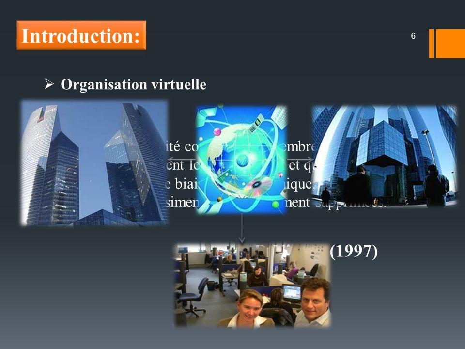 6 Organisation virtuelle Une OV est une entité composée de membres géographiquement dispersés qui partagent le même travail et qui communiquent exclusivement par le biais de lélectronique, les rencontres physiques étant quasiment voire totalement supprimées.