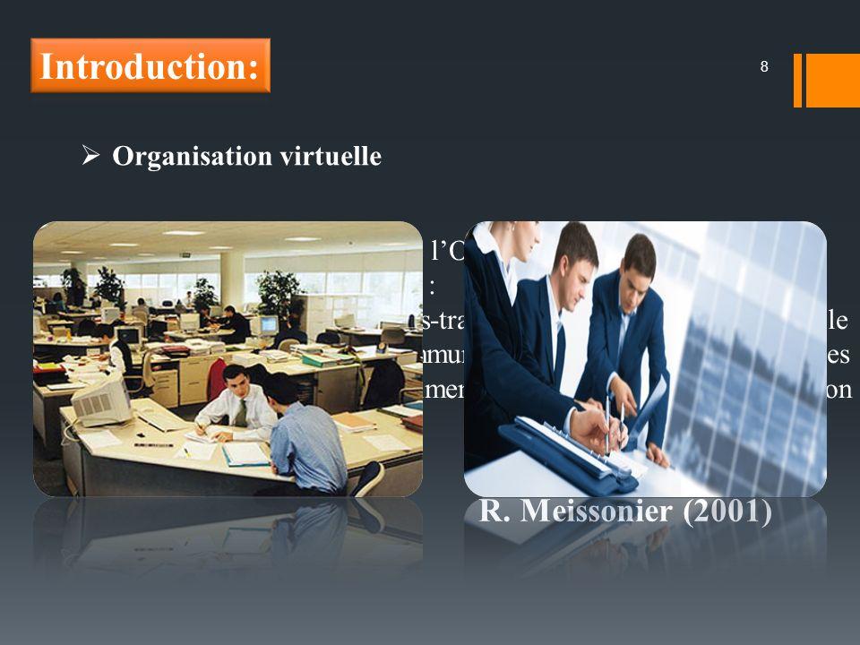 8 Organisation virtuelle Les principaux fondements de lOV sont : la création d un réseau d organisations indépendantes : système de partenariat, de sous-traitance ou de coopération, dans le but d atteindre un objectif commun ; et l utilisation des technologies de l information comme, quasiment, unique vecteur de coordination du travail.