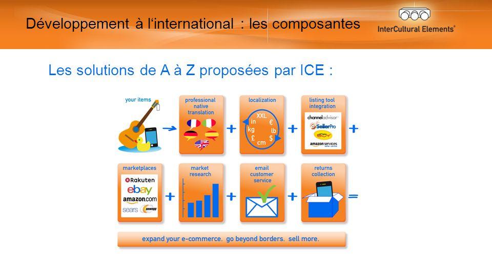 Développement à linternational : les composantes Les solutions de A à Z proposées par ICE :