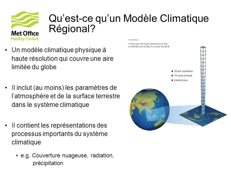 Quest-ce quun Modèle Climatique Régional? Un modèle climatique physique à haute résolution qui couvre une aire limitée du globe Il inclut (au moins) l