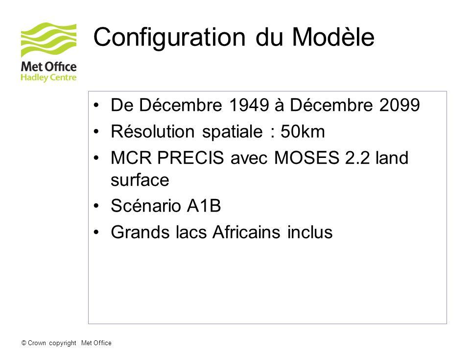 © Crown copyright Met Office Configuration du Modèle De Décembre 1949 à Décembre 2099 Résolution spatiale : 50km MCR PRECIS avec MOSES 2.2 land surfac