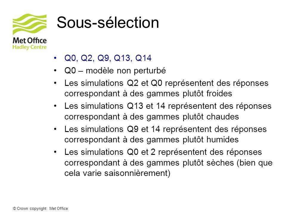 © Crown copyright Met Office Sous-sélection Q0, Q2, Q9, Q13, Q14 Q0 – modèle non perturbé Les simulations Q2 et Q0 représentent des réponses correspon