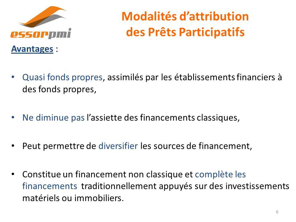 Modalités dattribution des Prêts Participatifs Avantages : Quasi fonds propres, assimilés par les établissements financiers à des fonds propres, Ne di