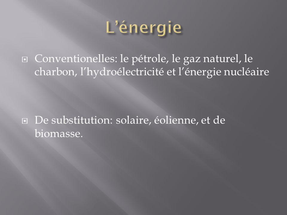 Conventionelles: le pétrole, le gaz naturel, le charbon, lhydroélectricité et lénergie nucléaire De substitution: solaire, éolienne, et de biomasse.