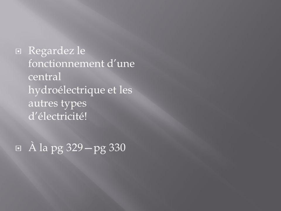 Regardez le fonctionnement dune central hydroélectrique et les autres types délectricité! À la pg 329pg 330