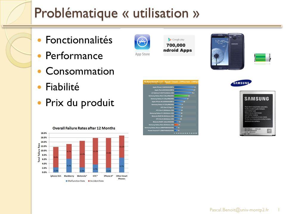Problématique « utilisation » Fonctionnalités Performance Consommation Fiabilité Prix du produit Pascal.Benoit@univ-montp2.fr1