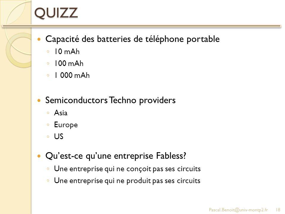 QUIZZ Capacité des batteries de téléphone portable 10 mAh 100 mAh 1 000 mAh Semiconductors Techno providers Asia Europe US Quest-ce quune entreprise Fabless.