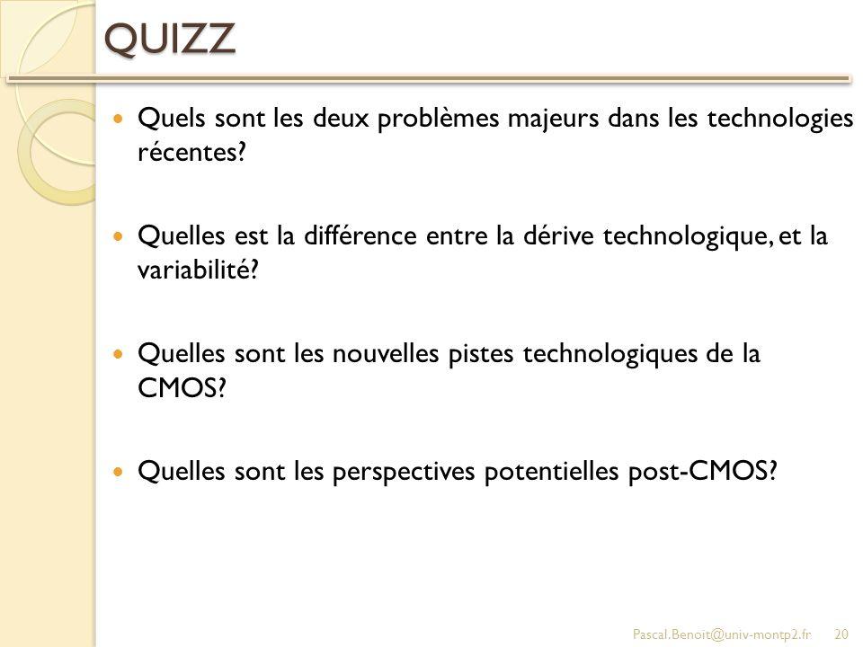 QUIZZ Quels sont les deux problèmes majeurs dans les technologies récentes.