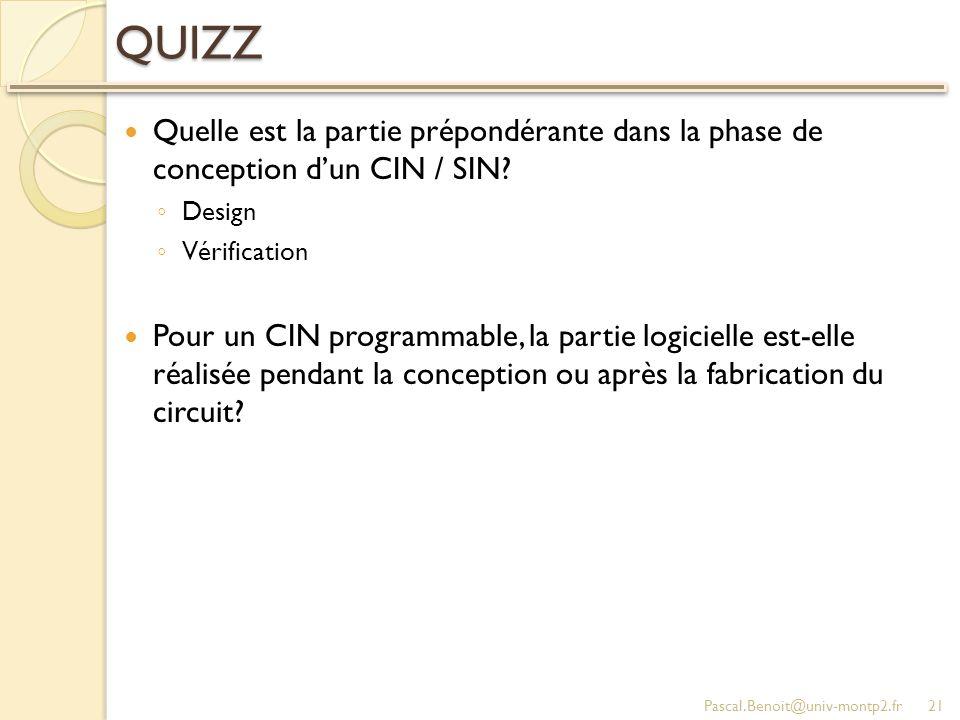 QUIZZ Quelle est la partie prépondérante dans la phase de conception dun CIN / SIN? Design Vérification Pour un CIN programmable, la partie logicielle