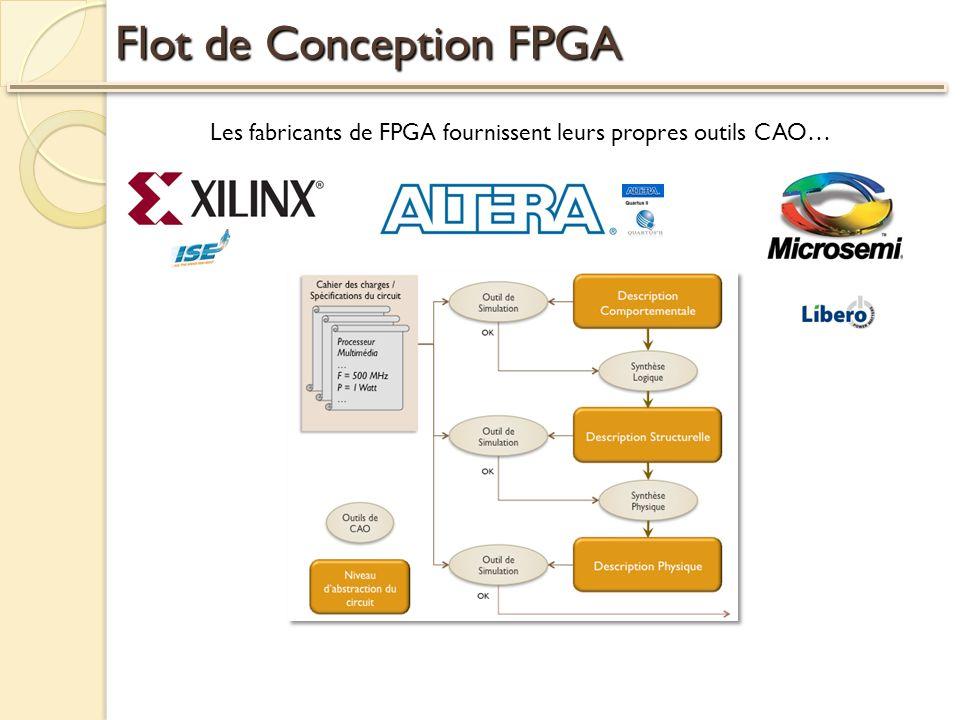 Flot de Conception FPGA Les fabricants de FPGA fournissent leurs propres outils CAO…