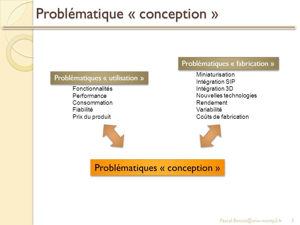 Problématique « conception » Pascal.Benoit@univ-montp2.fr3 Miniaturisation Intégration SIP Intégration 3D Nouvelles technologies Rendement Variabilité