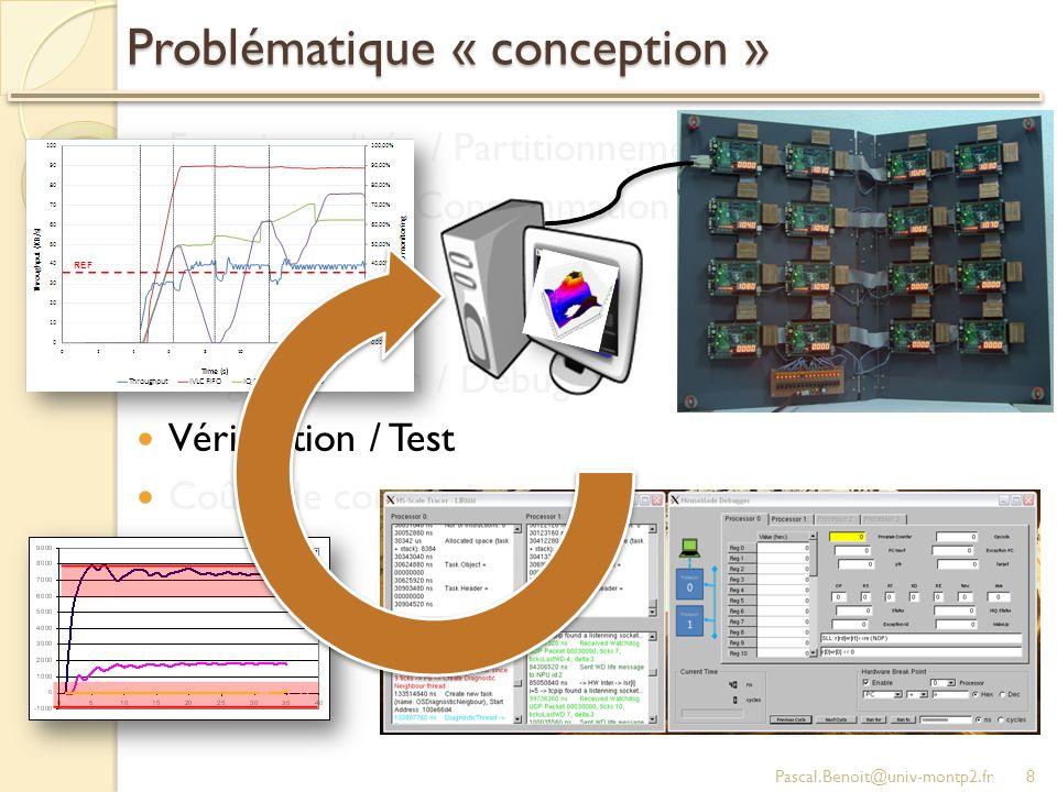 Problématique « conception » Fonctionnalités / Partitionnement Performance / Consommation / Surface Variabilité Fiabilité Programmation / Debug Vérification / Test Coûts de conception Pascal.Benoit@univ-montp2.fr8