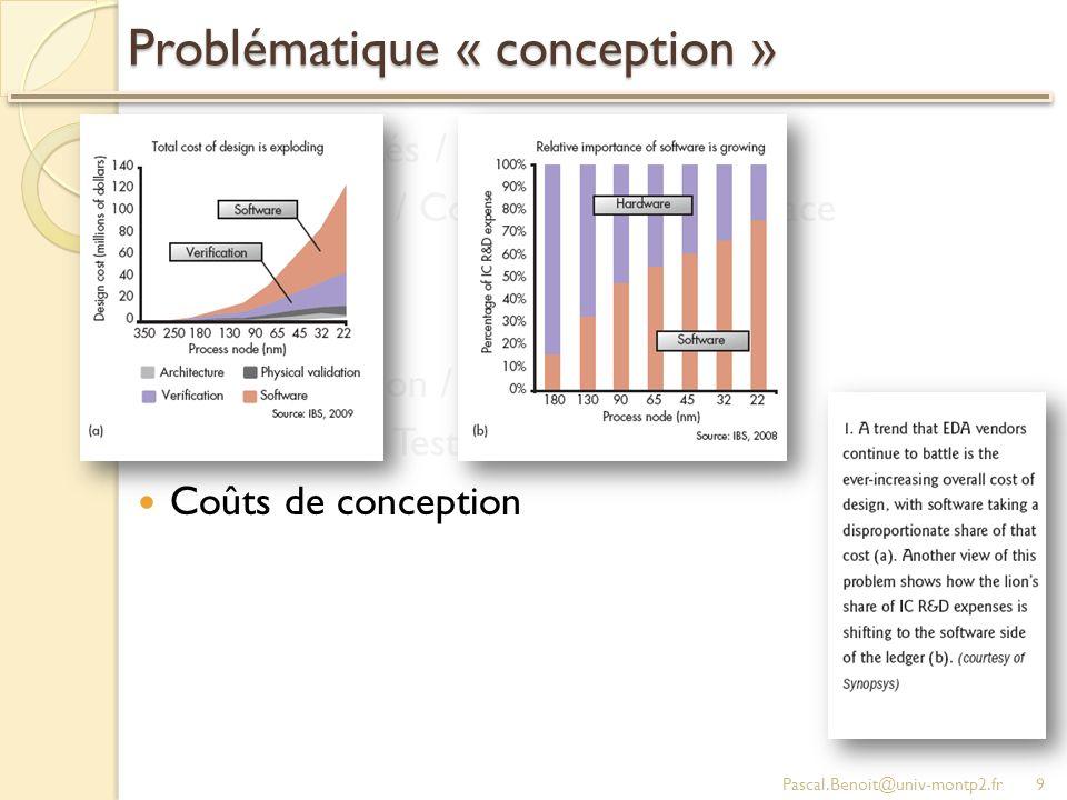 Problématique « conception » Fonctionnalités / Partitionnement Performance / Consommation / Surface Variabilité Fiabilité Programmation / Debug Vérification / Test Coûts de conception Pascal.Benoit@univ-montp2.fr9