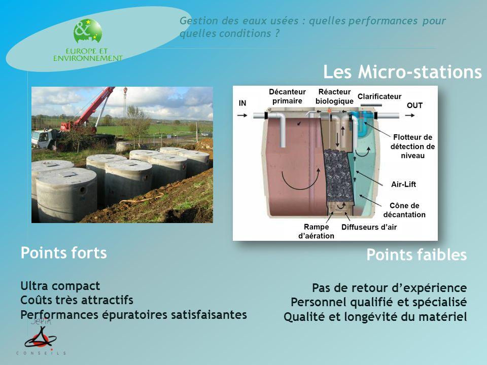 Les Micro-stations Points forts Ultra compact Coûts très attractifs Performances épuratoires satisfaisantes Points faibles Pas de retour dexpérience P