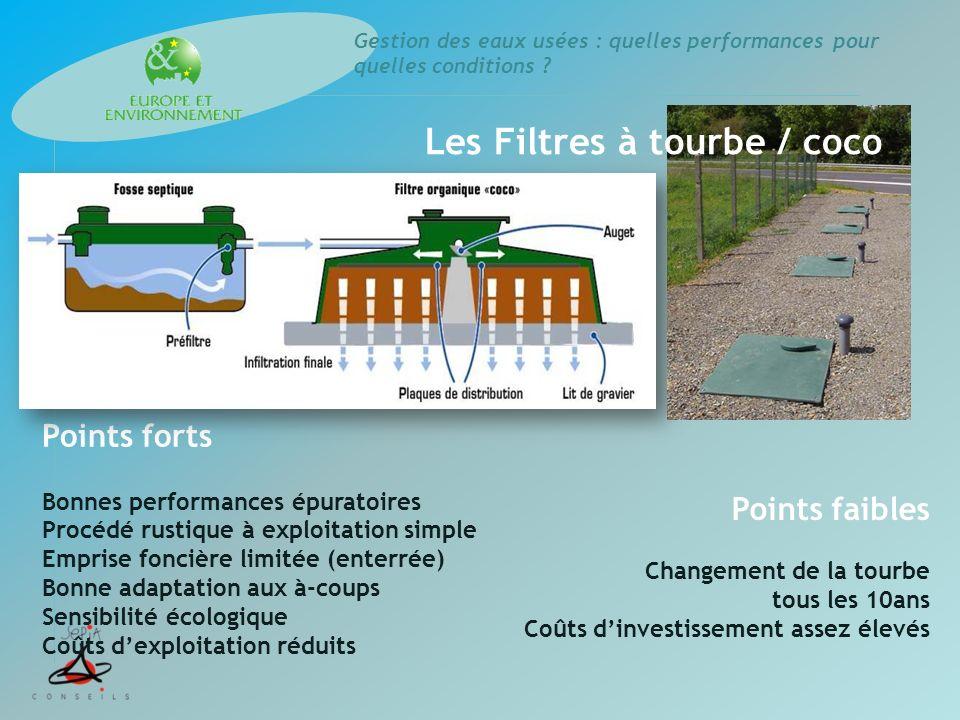 Gestion des eaux usées : quelles performances pour quelles conditions ? Points forts Bonnes performances épuratoires Procédé rustique à exploitation s