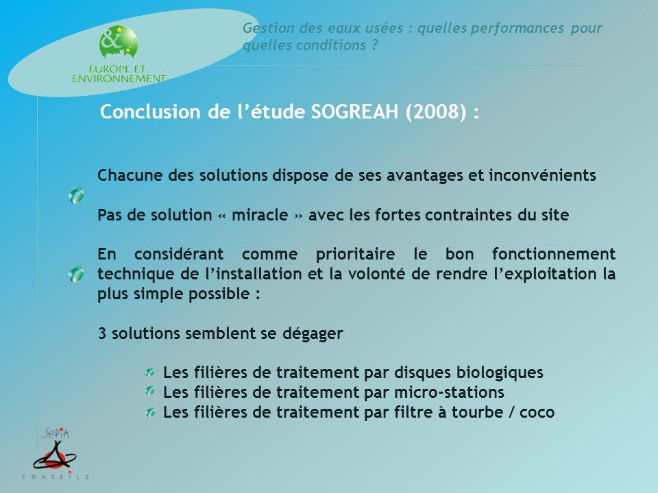 Gestion des eaux usées : quelles performances pour quelles conditions ? Conclusion de létude SOGREAH (2008) : Chacune des solutions dispose de ses ava