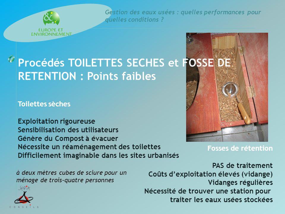 Gestion des eaux usées : quelles performances pour quelles conditions ? Procédés TOILETTES SECHES et FOSSE DE RETENTION : Points faibles Toilettes sèc