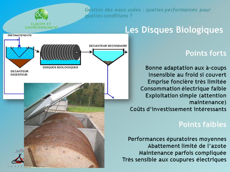 Gestion des eaux usées : quelles performances pour quelles conditions ? Les Disques Biologiques Points forts Bonne adaptation aux à-coups Insensible a