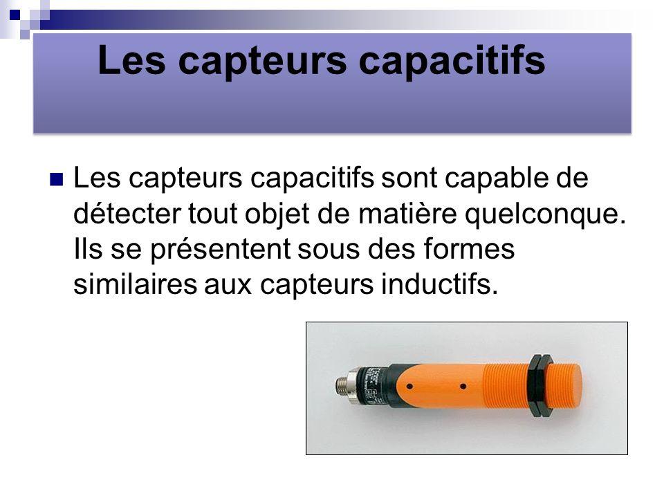 Les capteurs capacitifs Les capteurs capacitifs sont capable de détecter tout objet de matière quelconque.