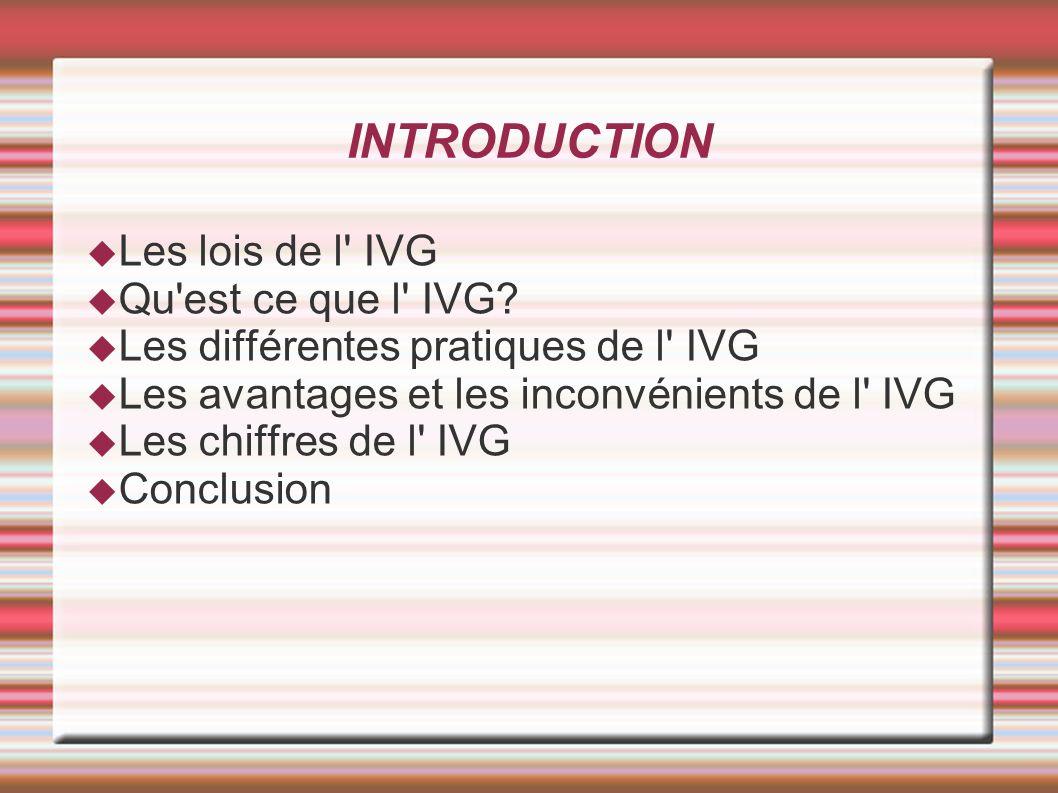 Conclusion L IVG à apporter la possibilité de ne pas avoir d enfant si c est une erreur de contraception.