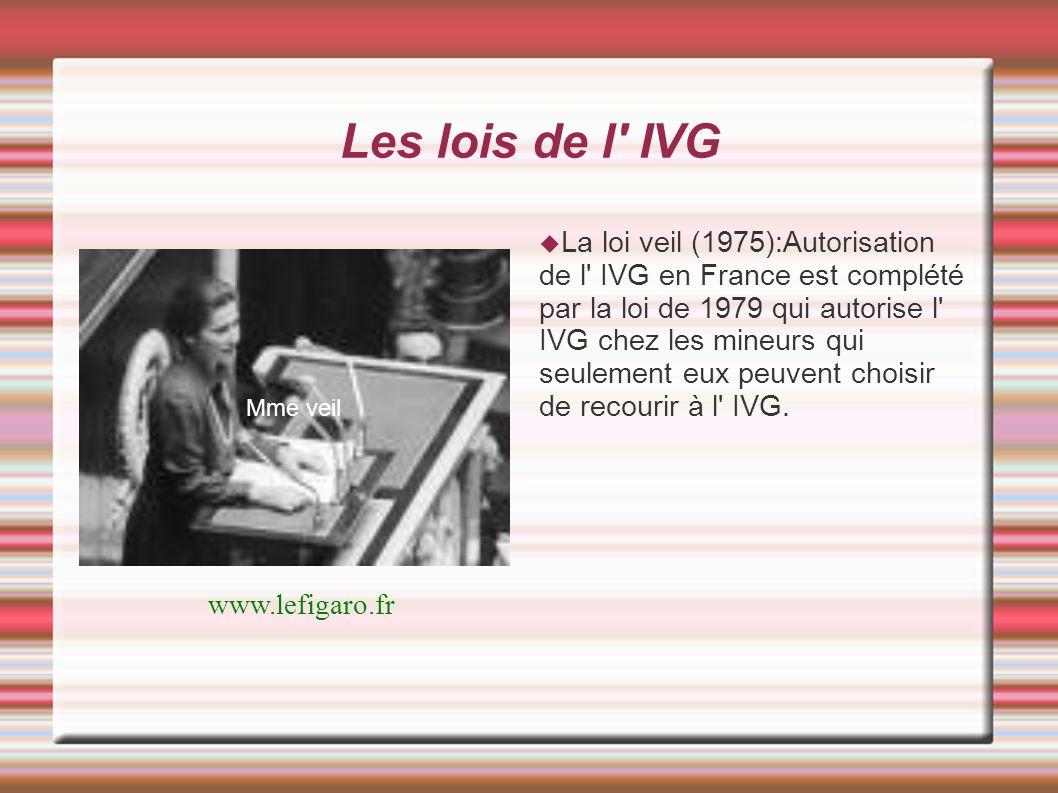 Les lois de l' IVG Mme veil La loi veil (1975):Autorisation de l' IVG en France est complété par la loi de 1979 qui autorise l' IVG chez les mineurs q