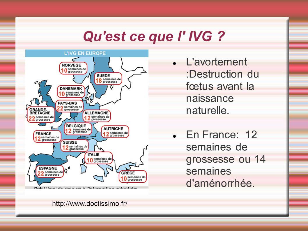Les différentes pratiques de l IVG 1-Par médicament: On pratique l IVG par méthode médicamenteuse avant le 49eme jour du cycle ( Calculé à partir du premier jour des dernières règles) consiste à prendre 3 comprimés de RV 483,puis,48 heures après au cours d une hospitalisation de quelques heures, deux comprimés de cytotec: ce comprimé sert à provoquer la destruction de la muqueuse.