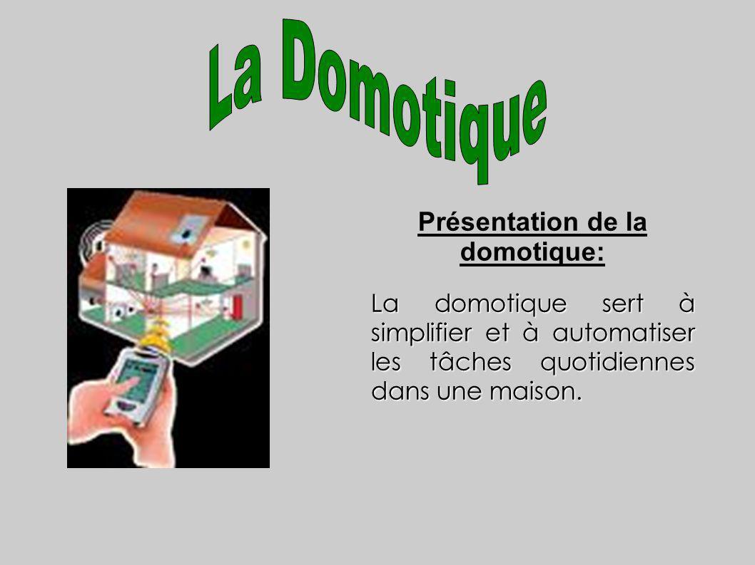 Présentation de la domotique: La domotique sert à simplifier et à automatiser les tâches quotidiennes dans une maison.