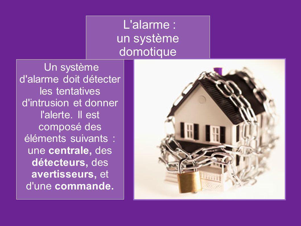 L'alarme : un système domotique Un système d'alarme doit détecter les tentatives d'intrusion et donner l'alerte. Il est composé des éléments suivants