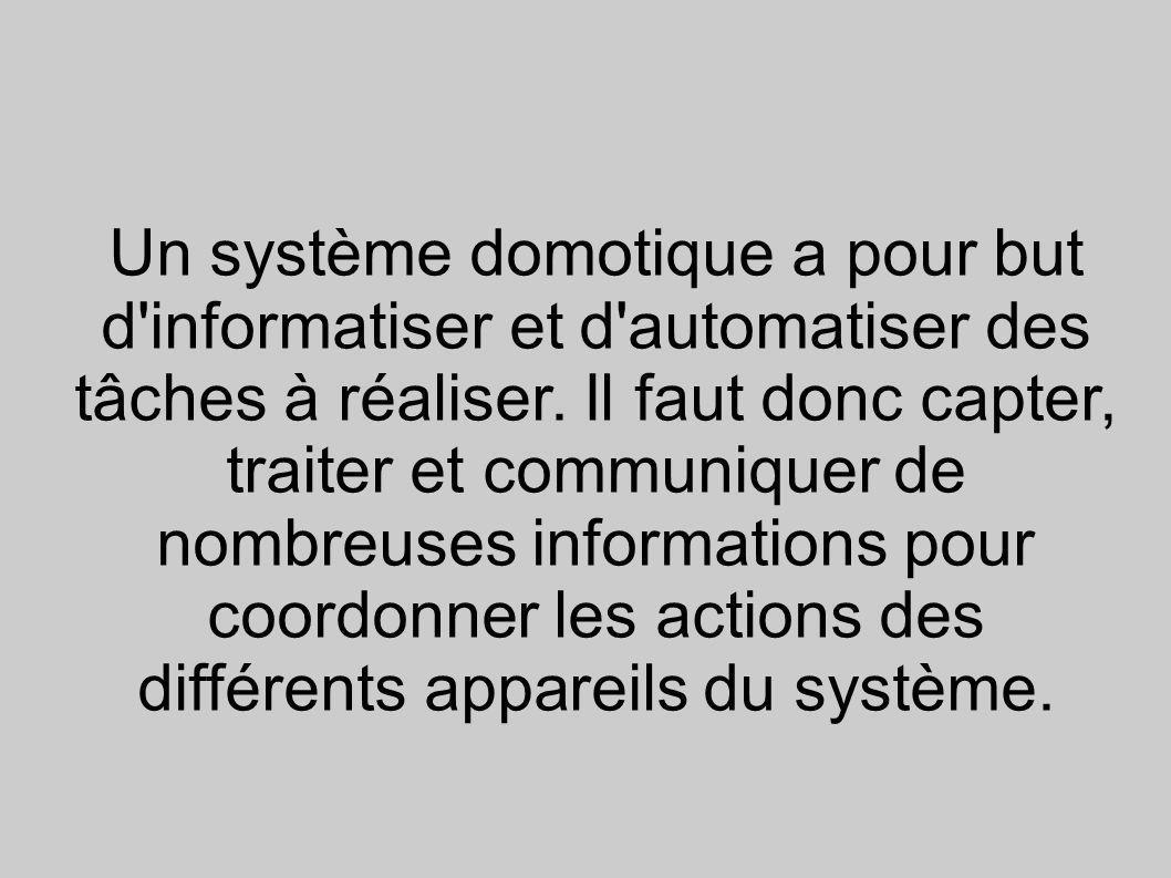 Un système domotique a pour but d'informatiser et d'automatiser des tâches à réaliser. Il faut donc capter, traiter et communiquer de nombreuses infor