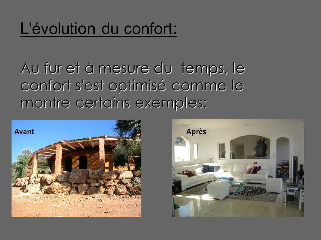 L'évolution du confort: Au fur et à mesure du temps, le confort s'est optimisé comme le montre certains exemples: AvantAprès