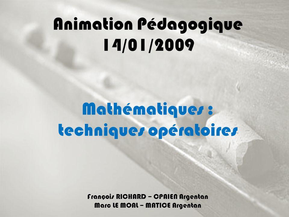 Animation Pédagogique 14/01/2009 Mathématiques : techniques opératoires François RICHARD – CPAIEN Argentan Marc LE MOAL – MATICE Argentan