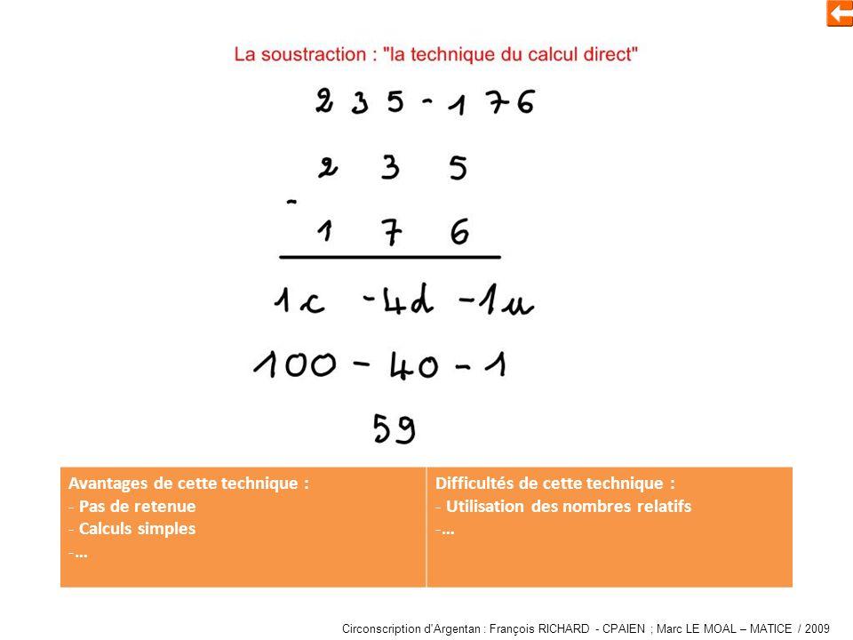 Soustraire en utilisant les « nombres relatifs » Avantages de cette technique : - Pas de retenue - Calculs simples -… Difficultés de cette technique : - Utilisation des nombres relatifs -… Circonscription d Argentan : François RICHARD - CPAIEN ; Marc LE MOAL – MATICE / 2009