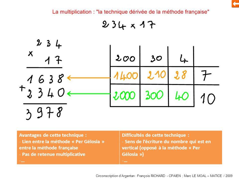 Multiplier « per Gelosia et méthode traditionnelle » Avantages de cette technique : - Lien entre la méthode « Per Gélosia » entre la méthode française - Pas de retenue multiplicative -… Difficultés de cette technique : - Sens de lécriture du nombre qui est en vertical (opposé à la méthode « Per Gélosia ») -… Circonscription d Argentan : François RICHARD - CPAIEN ; Marc LE MOAL – MATICE / 2009