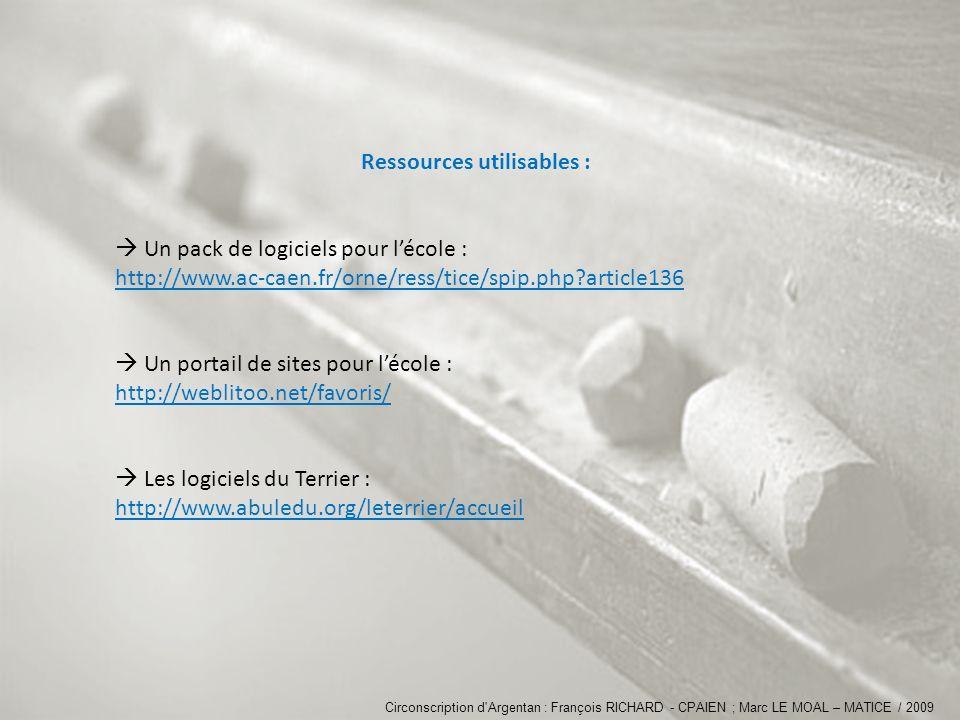 Ressources utilisables : Un pack de logiciels pour lécole : http://www.ac-caen.fr/orne/ress/tice/spip.php?article136 Un portail de sites pour lécole : http://weblitoo.net/favoris/ Les logiciels du Terrier : http://www.abuledu.org/leterrier/accueil