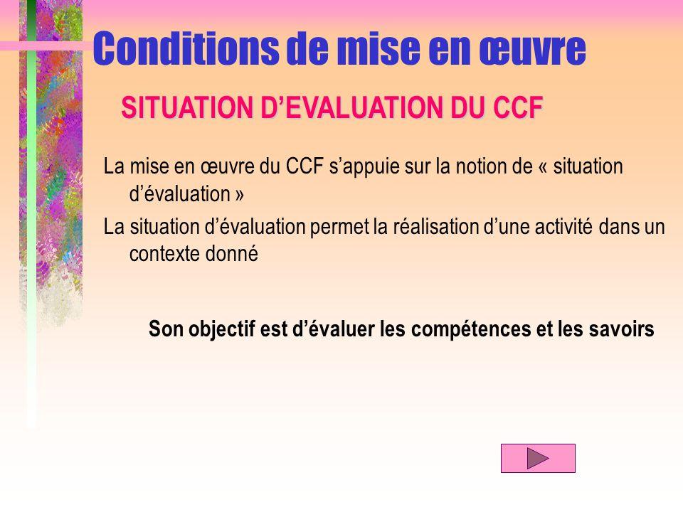 La mise en œuvre du CCF sappuie sur la notion de « situation dévaluation » La situation dévaluation permet la réalisation dune activité dans un contex