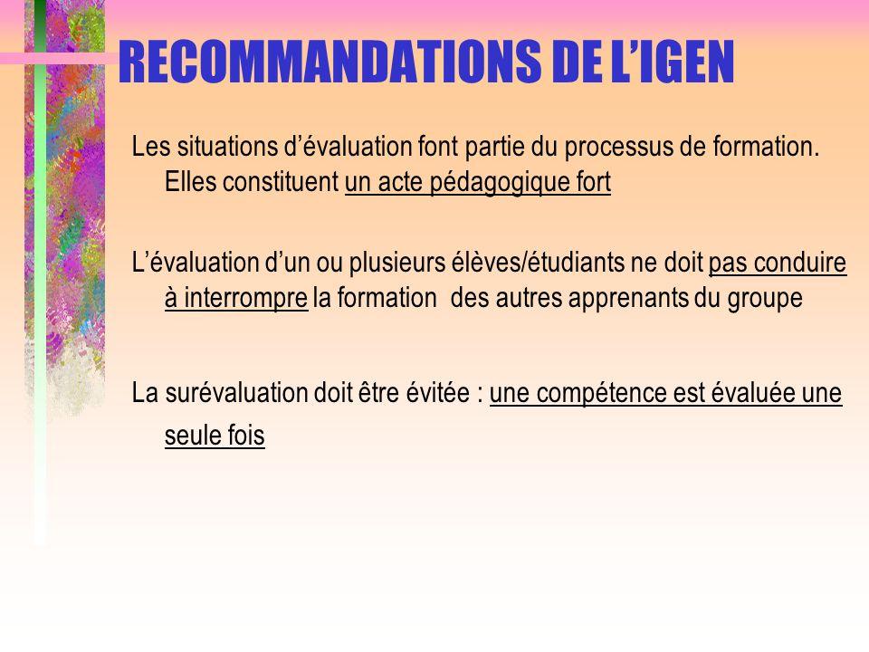 RECOMMANDATIONS DE LIGEN Les situations dévaluation font partie du processus de formation. Elles constituent un acte pédagogique fort Lévaluation dun