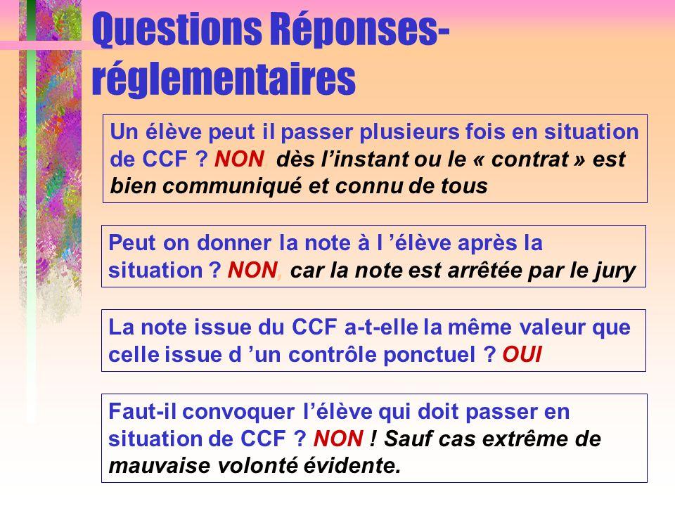 Questions Réponses- réglementaires Un élève peut il passer plusieurs fois en situation de CCF ? NON, dès linstant ou le « contrat » est bien communiqu