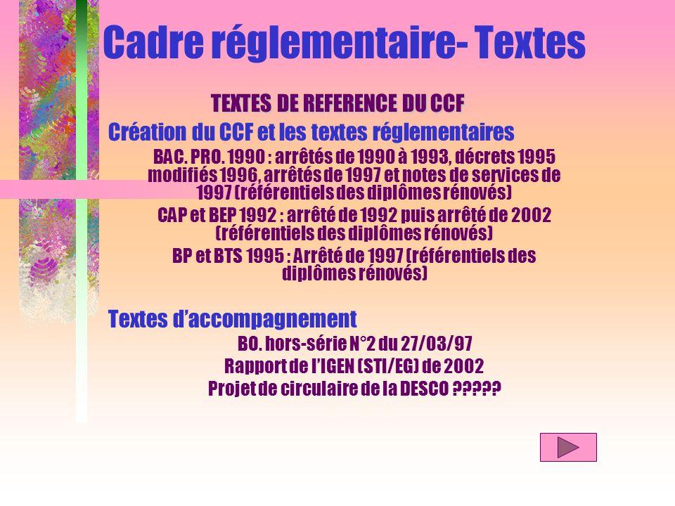 Cadre réglementaire- Textes TEXTES DE REFERENCE DU CCF Création du CCF et les textes réglementaires BAC. PRO. 1990 : arrêtés de 1990 à 1993, décrets 1